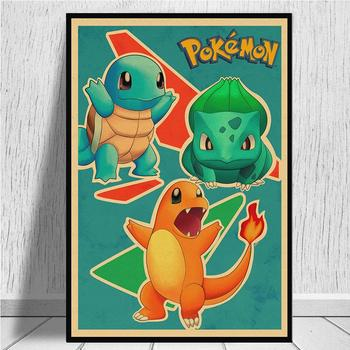 Pokemon Pocket Monstras Animacinių filmų Vintage Retro Kraft Patinata Plakatas Decorativo di